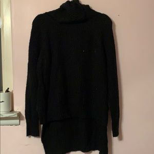 Black high low cowl-neck sweater